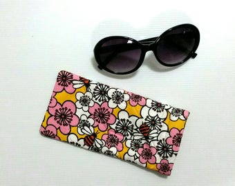 Floral sunglasses case, glasses pouch, sunglasses slip case, glasses slip case, sunglasses storage, sunglasses case, pretty glasses case