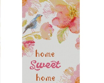 Home Sweet Home cross stitch, Modern design cross stitch, Floral watercolor pattern PDF, Flowers and bird cross stitch, buy 2 get 1 free!