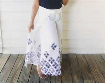 White handprinted cotton wrap pants, navy blue geometric print