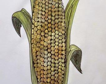 Crazy Corn Print with Seeds