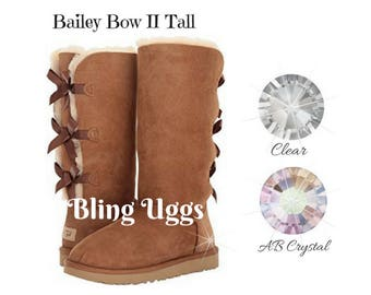 BLING UGG Boots - Bailey Bow II Tall - Custom Bling - Winter Boots - Crystals - Bling - All Sizes - Chestnut Bailey Bow