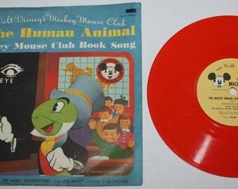 Walt Disney Mickey Mouse Club You The Human Animal Jiminy Cricket Record