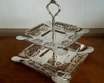 Silver Plated Two Tier Cake Stand Ornate Thistle Pattern Vintage Kitchenalia