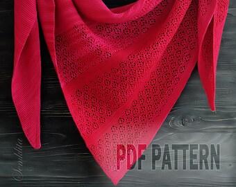 PDF Knitting Pattern triangular Shawl Frozen raspberries