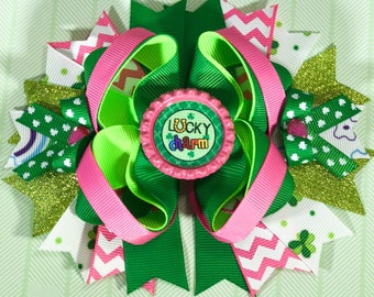 St. Patrick's day over the top bow leprechaun bow green clover st. Patricks day hair bow st patricks day headband st. Patricks day hair clip
