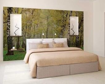 Wall Mural Decal Forest, Birch Wallpaper, Forest Wall Decal, Wall Mural Woods, Tree Wallpaper