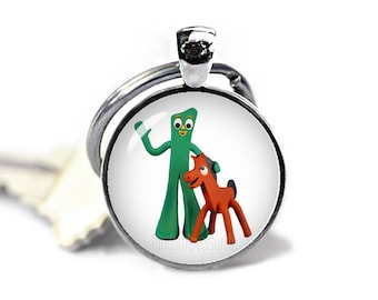 Gumby and Pokey Key Ring Gumby and Pokey Keychain Gumby and Pokey Jewelry