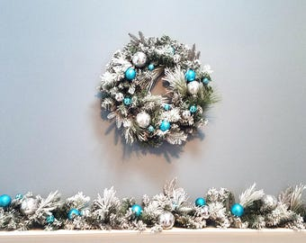 "ESE Christmas Wreath 24"", Garland 72"" (decorated with pine cone,m glitter Blue white  Ornaments Ball , Flocked Snowy"