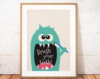 Little Monster Printable Art, Cute Monster Wall Art, Kids Gift, Monster Print, Kids Bathroom Decor, Instant Download