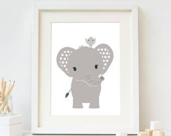 Elephant Nursery Print, Nursery Wall Art Printable, Safari Animal Nursery Art, Baby Room Decor, Kids Printable Art, Digital Instant Download