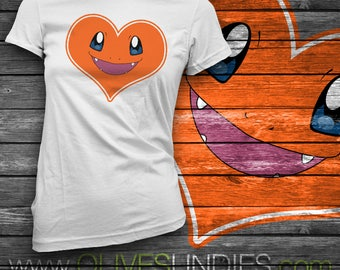 Charmander Heart Face and Tail T-Shirt