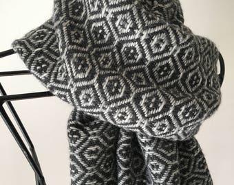 Long Handwoven Scarf Natural Product Merino & Royal Alpaca Wool Yarn from Italy Handmade on Looms