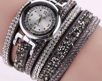New Arrival!  Wrap Around Watches with Rhinestones and Quartz Movement - Choose From  Gray, Navy Blue, White, Blue and Pink - Adjustable