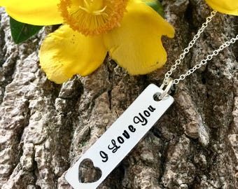 I love you, Handstamped Necklace, Gift for Her, valentines gift, Anniversary Gift, Girlfriend, Wife, Fine Necklace, Romantic Gift, For Her,