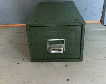 Vintage Heritage Retro Industrial Chic Single Filing Drawer by Kingsbury in Classic British Racing Green