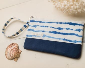 Small Katrina Pouch, Blue Watercolor Stripes and Navy