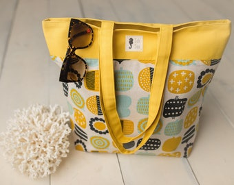 Market Tote, Mod Navy, Aqua, Yellow Veggies
