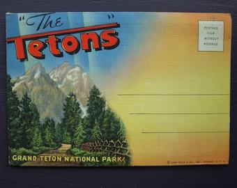 The Tetons Grand Teton National Park Vintage Postcard Foldout Folder