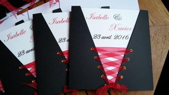 faire part mariage pochette corset noir rouge. Black Bedroom Furniture Sets. Home Design Ideas