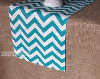 Beautiful Turquoise Table Runner Chevron Zig Zag Teal Aqua Table Runner Centerpiece  Dining Room Decor Table Linens