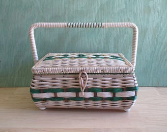 Mid Century Woven Wicker Sewing Basket with Handle and Mint Green Satin Interior, Vintage Seamstress Tote, Craft Storage