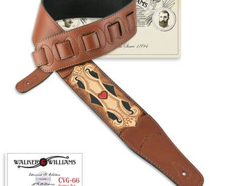 Hand Tooled Saddle Tan Leather Guitar Strap Scroll & Heart Design CVG-66