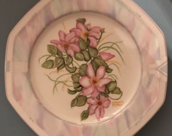 Handpainted octagonal plate with pink wild flowers