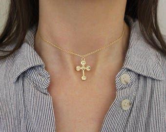 Gold Cross Choker, 14k Gold Filled Chain, Religious Necklace, Single Cross Choker, Dainty Choker Necklace