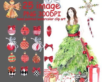 Watercolor Christmas clipart ,Winter Clipart ,Christmas decor,Ornaments and gifts, holiday clipart