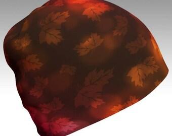 Autumn Beanie, Autumn Leaves, Festival Beanie, Gypsy Hat, Slouch Beanie, Slouchy Hat, Printed Beanie, Boho Beanie, Boho Hat, Unisex Beanie
