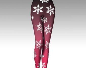 Snowflake Leggings, Ombre Leggings, Pink Leggings, Winter Leggings, Winter Fashion, Premium Leggings, Performance Leggings, Luxury Leggings