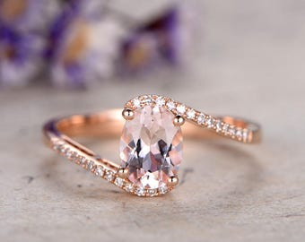 Morganite engagement ring with diamond,Solid 14k Rose gold promise ring,1.21 carat oval morganite wedding ring,curved loop anniversary ring
