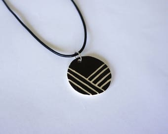 Handmade Round Black and White Ceramic Necklace