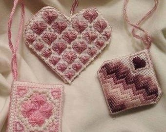 Its All About Hearts - Needlepoint chart and instructions for a trio of Valentine ornaments for 18 count canvas. Sold as a digital download.