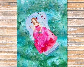 Sleeping Beauty, disney art, princess art, girl art, fairy tale art, children's room decor, fantasy art, fairy tale, nursery art, art print