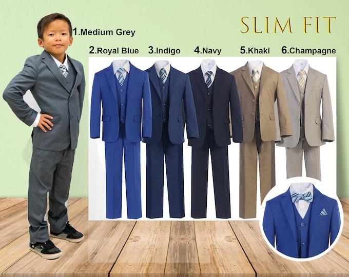Featured listing image: Slim Fit Premium Boys 7-Piece Suit Tuxedo, Gray Navy Indigo Royal Blue Khaki Champagne, Wedding Ring Bearer Homecoming Prom