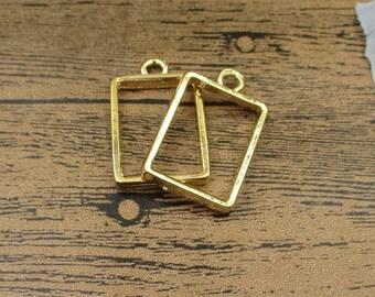 2 Rectangle Open Bezel Pendants-21x34mm,Locket Frame,Gold Tone-TS115