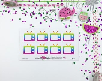 TV labels, rainbow, stickers for the Classic Happy Planner, Item # W201