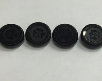 Set of 4 Antique Victorian Era Black Glass Buttons