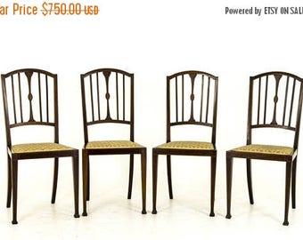 chair blowout b591 set of 4 edwardian mahogany inlaid side chairs with upholstered seats