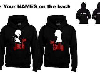 Her JACK-His SALLY Hoodies + Your NAMES on the back