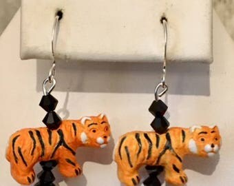 Cute Ceramic Tiger Earrings with Glass Beads