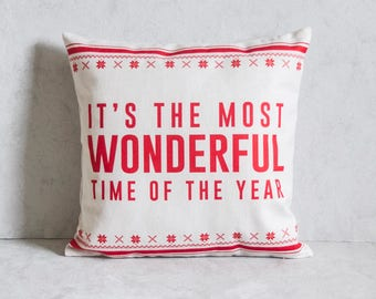 Christmas Pillow Cover, Most Wonderful Time of the Year, Pillow Covers, Throw Pillow, Christmas Throw Pillow, Decorative Pillow Cover