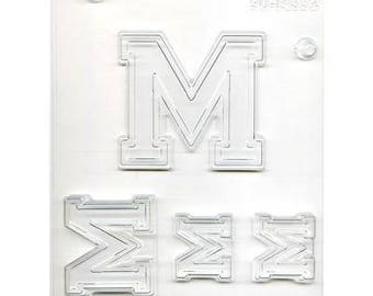 """Collegiate Letter """"M"""" Chocolate Candy Mold"""
