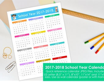Printable Calendar 2017-2018 School Year at a glance. 4 sizes included. Quick reference wall or poster. Instant download JPEG files 300dpi