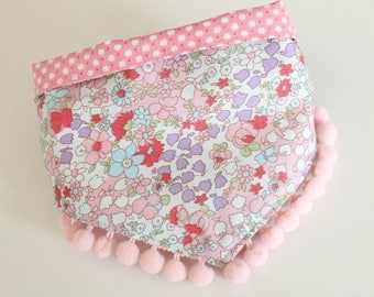 Small Tie-On Dog Bandana, Pink Floral with Pom Poms