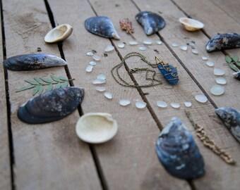 VINTAGE SEAGLASS NECKLACE | Rare, Dark Cobalt Blue, Cornish Seaglass | found artefact | hand wrapped pendant | of land & sea jewellery