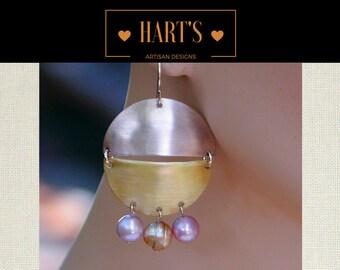 Artisan Half Moon Pink Pearl 14K Gold Earrings
