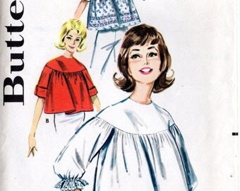GOODBYE SUMMER SALE Vintage 60's Blouse Top Pattern: Butterick 9981; size 18-20, bust 30-40; Retro Mid-Century Cool! c. 1960