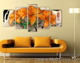 Extra Large Canvas Art, Interior Art, Living Room Decor, Flower Art, Wall decor 5 Panel Canvas, Print on Canvas, beautiful flowers